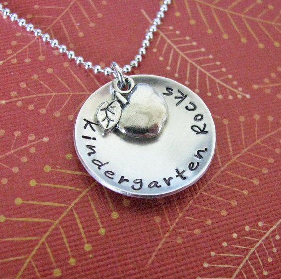 Kindergarten Rocks teacher necklace by juliethefish on Etsy