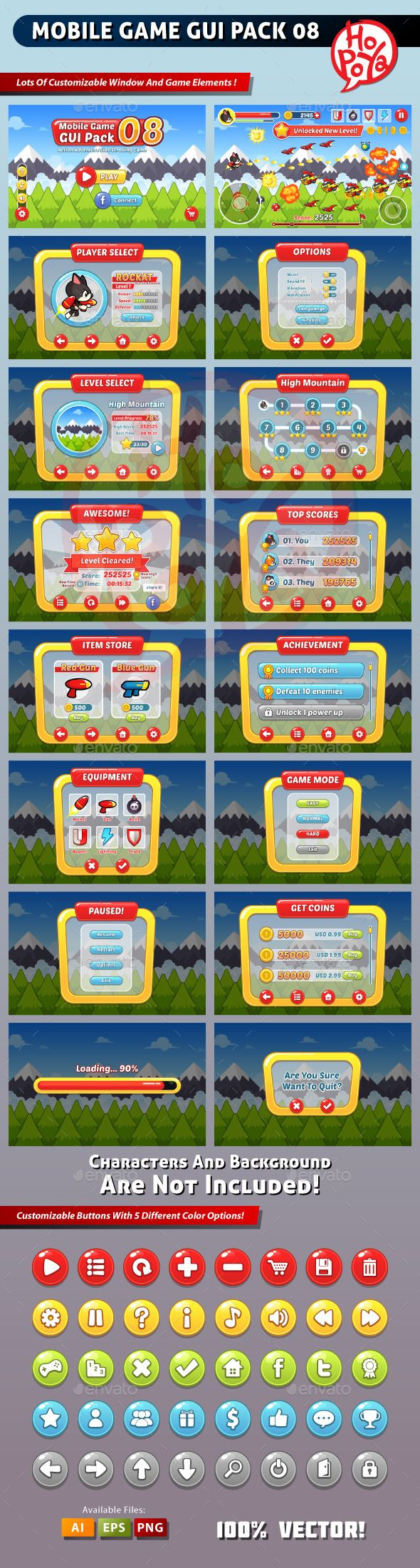 Mobile Game GUI Pack 08 - User Interfaces Game Assets | DOWNLOAD: https://graphicriver.net/item/mobile-game-gui-pack-08/8954618?ref=sinzo