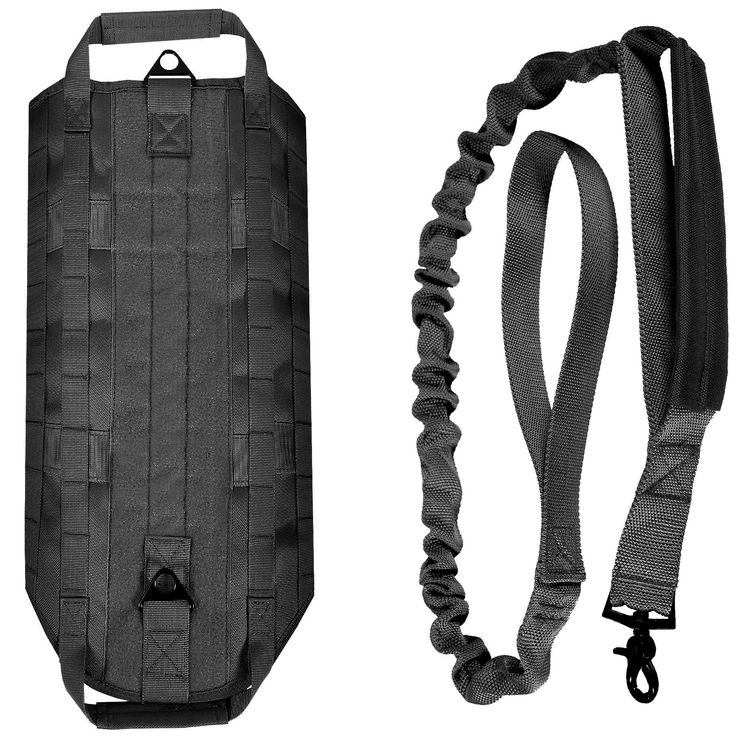 LIVABIT K9 Service Dog Tactical Military Police Molle Vest Harness + Matching Heavy Duty Bungee Leash Strap [ Also For Cats & Puppies ] BLK Small w/ Leash