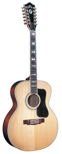 A Guild F512 - One of two Guild Jumbo acoustic guitars I use for playing in hospitals for children and in nursing home/rehab centers for older folk.