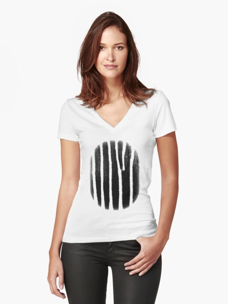 Ethically sourced Women's Fitted V-Neck T-Shirts with Fingerprint of Africa by Eric Nagel. #Fashion, #styling #clothes #shopping #TShirt #VNeck #girl #summer #outfits #couture #wear