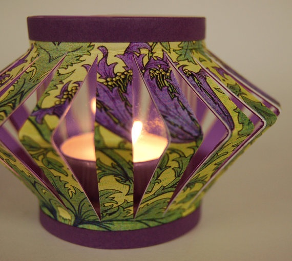 Paper tea lights- use battery tea lights for safety. I have a whole tablet of similar cardstock papers from K & CO.