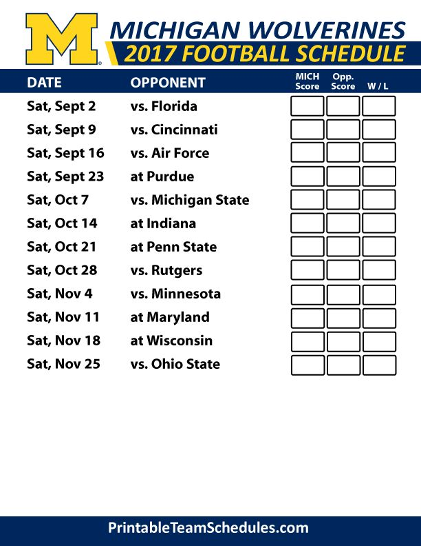 2017 Michigan Wolverines Football Schedule