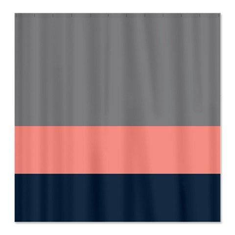 Custom Color Block Shower Curtain Titanium Grey Coral Navy OR Choose Colors S