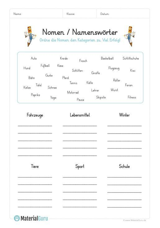free worksheets and exercises on the topic of nouns for german lessons at the elementary school. Black Bedroom Furniture Sets. Home Design Ideas