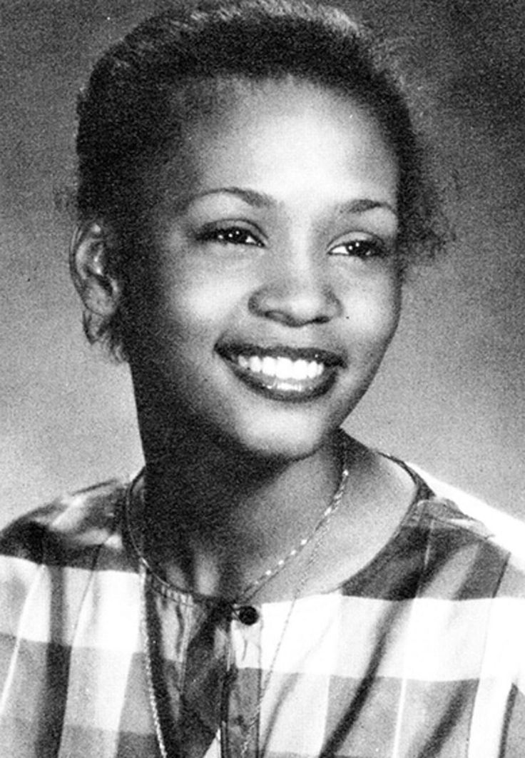 Whitney Houston  1981 Whitney Houston (seen here in her senior yearbook photo from Mount St. Dominic Academy in Caldwell, NJ) was born in Newark, NJ to a family of prominent soul and gospel singers, including mom Cissy Houston and her aunt Dionne Warwick. Before she was discovered by Clive Davis at age 20 in an NYC nightclub, she also found work as a model.