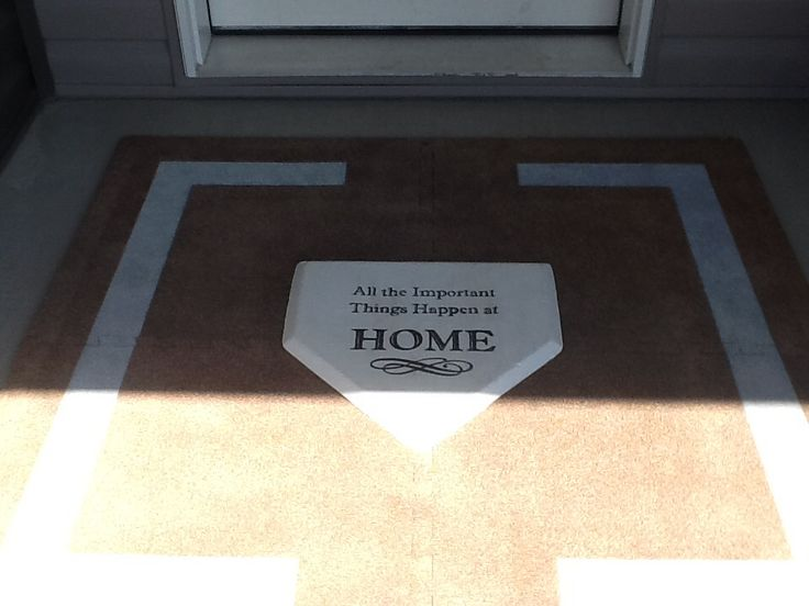 "Baseball front door mat. ""All the important things happen at HOME"""