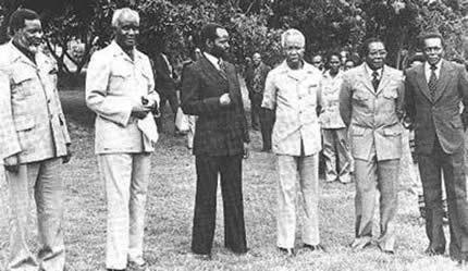 Sam Nujomo of SWAPO, Pres. Kenneth Kuanda of Zambia, Pres. Samora Machel, Mozambique, Pres. Julius Nyerere, Pres. Robert Mugabe and Pres. Jose Eduardo dos Santos of Angola.