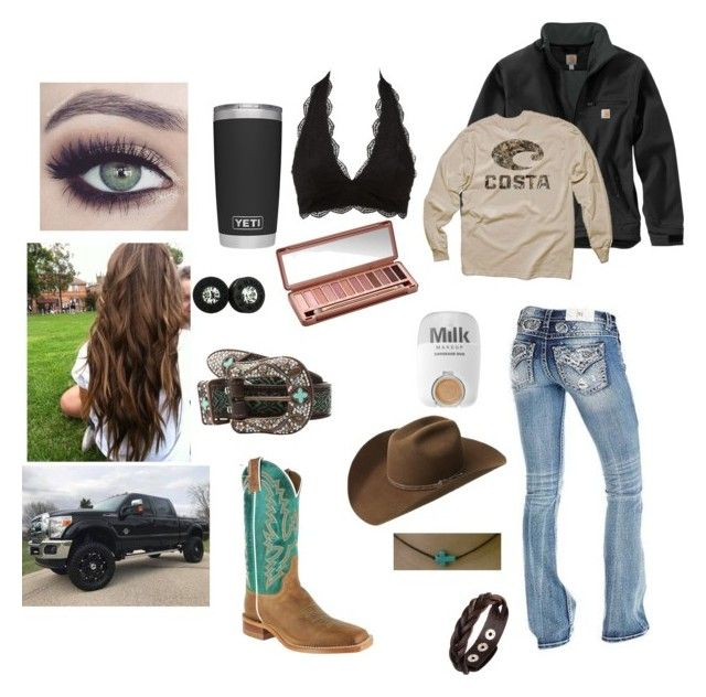 """""""Untitled #37"""" by rodeo-hard-cowgirl ❤ liked on Polyvore featuring Carhartt, M&F Western, Urban Decay, Charlotte Russe, Realtree, MILK MAKEUP and Bailey Western"""