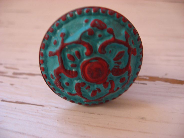 turquoise and red dining room   Set of 4 Turquoise and Red Knobs for your Dresser Drawers Cabinets or ...