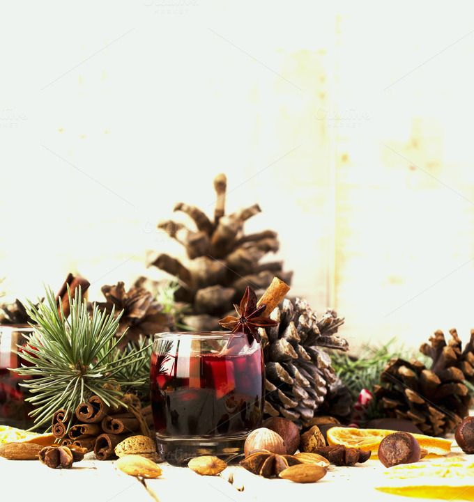New Year or Christmas composition with walnuts, mulled wine, hazelnuts by Wild Drago Shop on @creativemarket