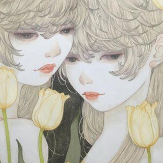 Instagram photo by Yuka Sakuma (@sakuma.yuka) 06/04/2016 detail 麻紙に墨、岩絵具 natural mineral pigments, Japanese ink on hemp paper #illustration #art#japanesepainting#日本画#イラスト#アート#絵