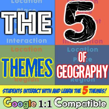 Five Themes of Geography Unit! Location, Place, Interaction, Movement, Region! 5 Themes! Google 1:1 Compatible! In this highly-engaging Five Themes of Geography lesson, students analyze the five themes of geography (location, place, human-environment interaction, movement, and region) to understand how geographers study the world!