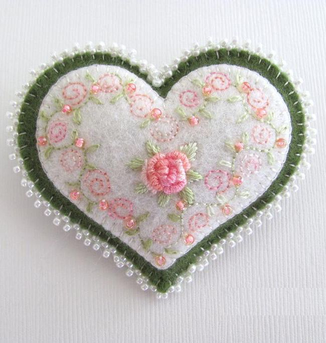 embroidery heart by Paulette Racanelli