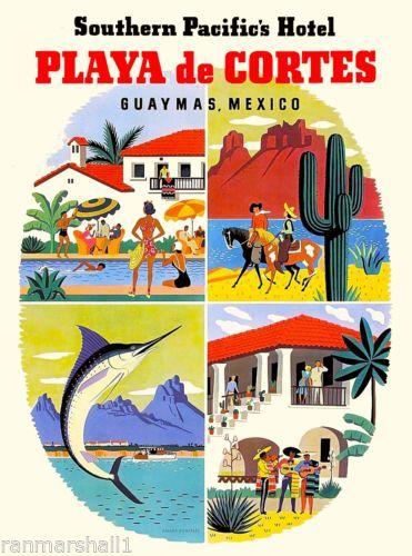 Guaymas-Mexico-Playa-de-Cortes-Mexican-Vintage-Travel-Advertisement-Art-Poster