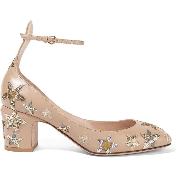 Valentino Tango embellished leather pumps ($1,395) ❤ liked on Polyvore featuring shoes, pumps, beige, embellished pumps, beige shoes, valentino shoes, mid-heel pumps and sequin shoes
