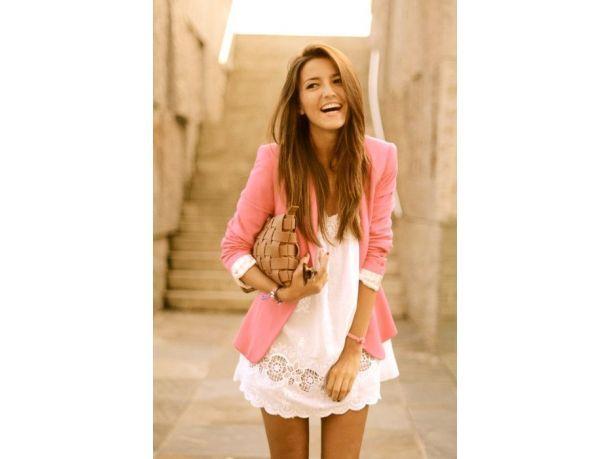 Vestito bianco rosa