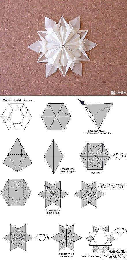 Origami de floco de neve.