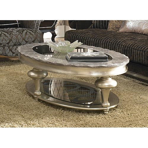 AI N03201 00 AICO Hollywood Swank Oval Cocktail Table $1069.00