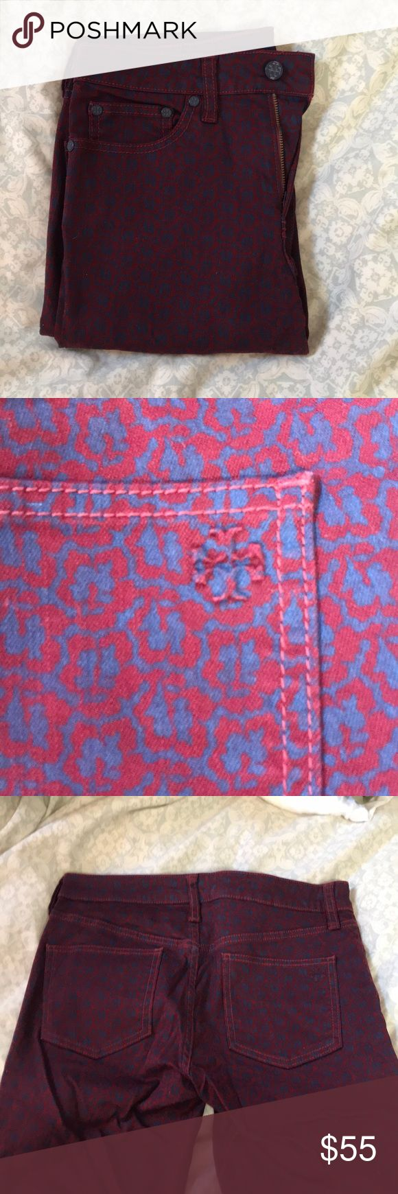 Tory Burch Printed  Skinny Jeans Dark red and navy printed Tory Burch skinny jeans. Size 27 only worn once. Cute fit and a great pair of jeans for the fall and winter. Feel free to bundle or make me an offer ! Tory Burch Jeans Skinny