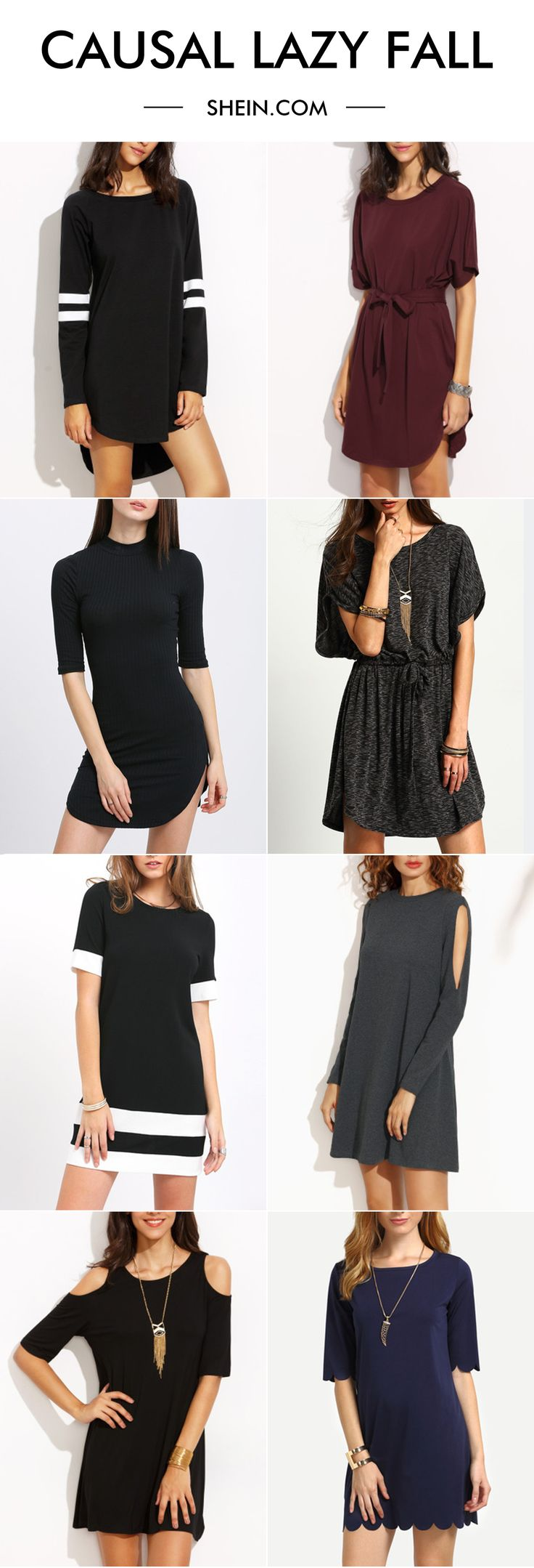 Global casual dress for fall & winter. Basic dress for women's closet!