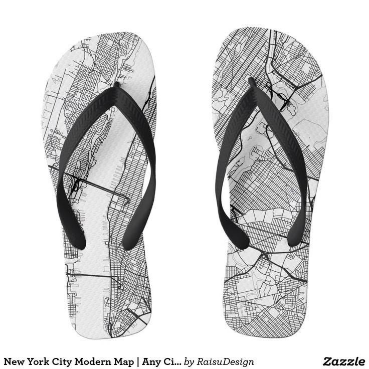 New York City Modern Map | Any City Flip Flops