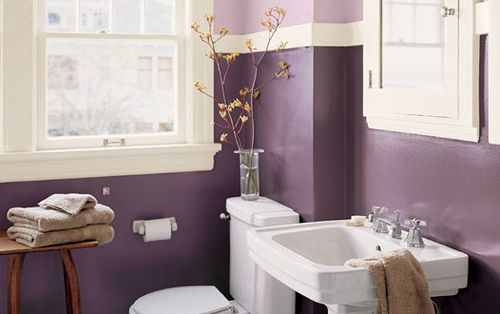 Purple Guest Bathroom. Needs more storage, but love the two shades of purple separated by white.