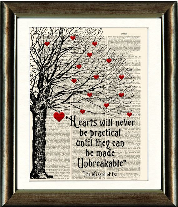 Wizard of Oz Heart Quote - vintage book page print image on a page from an Upcycled late 1800s Dictionary Buy 3 get 1 Free. Teacups on Etsy, $10.00