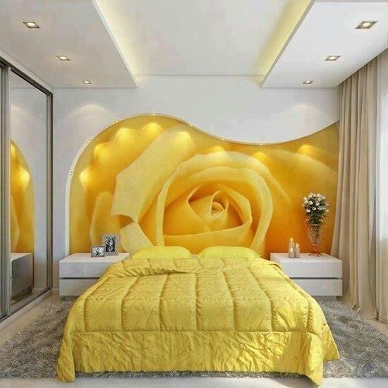Yellow bedroom/ love the creative art/ ,headboard idea <3