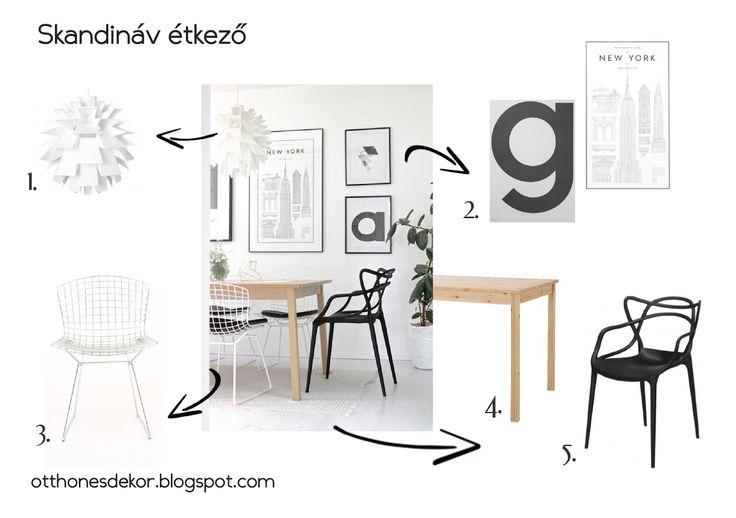 skandináv étkező, scandinavian dining room, norm 69 lamp, normann copenhagen, bertoia chair, ikea table, kartell masters chair