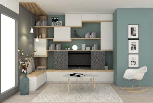 Pour le meuble tv penser aux am nagements int grer dans for Idee amenagement interieur salon