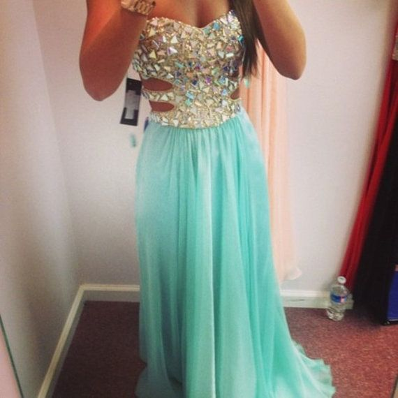 Teal sequin diamonds maxi dress girl prom by DreamDressOnline, $149.99