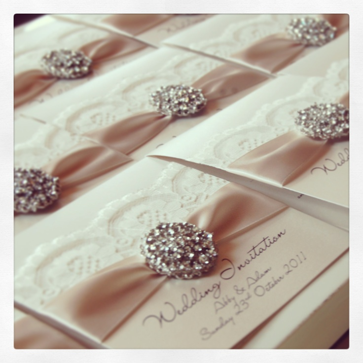 Opulence wedding invitations, with vintage styled lace and gorgeous crystal cluster. Classic 20's influence.