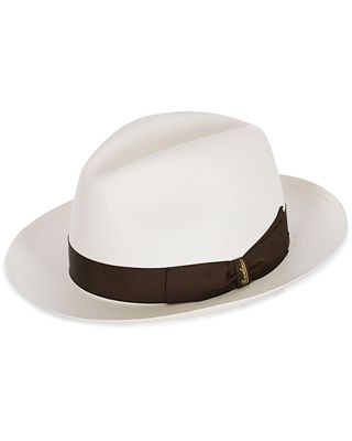 Borsalino Panama Fine With Medium Brim White Brown Ribbon