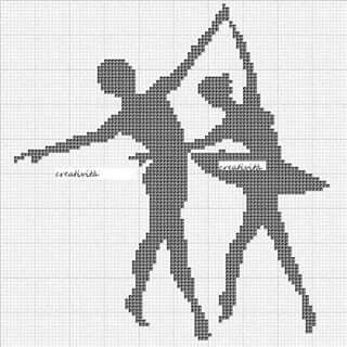 Ballerina couple x-stitch