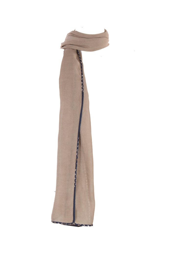 Grey Solid Dupatta With Ladder Lace Insert At The Lengths And Printed Pipping On All Four Sides; 2.25 M In Length In 100% Viscose #Fashion #Style #Colors #Drapes #W for #Woman