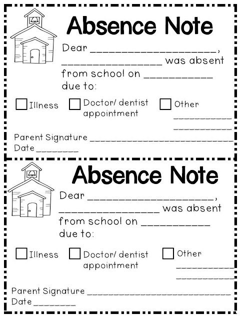 Absence Note Form (free; from KindergartenWorks)