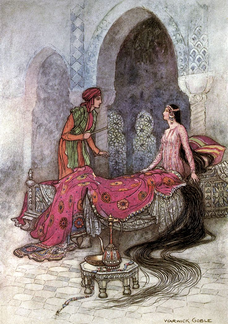 """In a trice she woke up, … From 'The Story of the Rakshasas'. """"Folk Tales of Bengal"""" (1912) illustrated by Warwick Goble"""