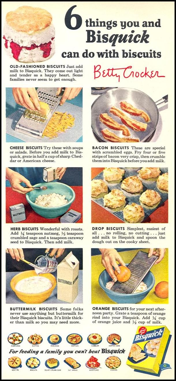 6 Things You and Bisquick Can Do with Biscuits ad from Woman's Day, February 1954