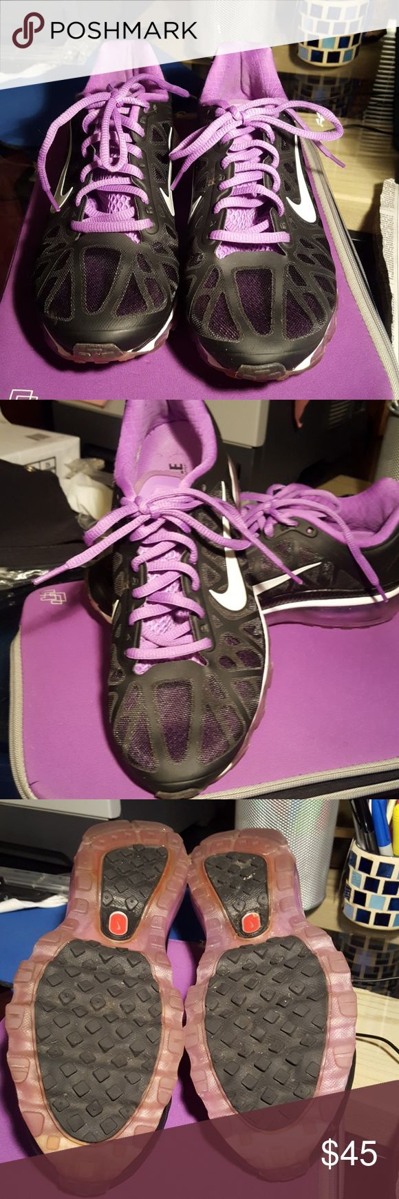 Nike Air Max sneakers These are gently used women's Nike Air Max. Color is Black Metallic Platinum Bright Violet. Nike Shoes Sneakers