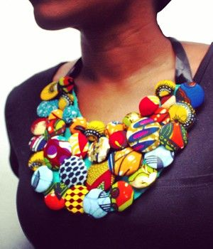Button Bib Necklace by Christie Brown Ghana #Ghana #ChristieBrown #handmade #necklace #bib #button #AfricanFashion #AfricanPrint #African #Design