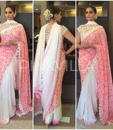 Buy pink embroidered velvet saree with blouse bollywood-saree online