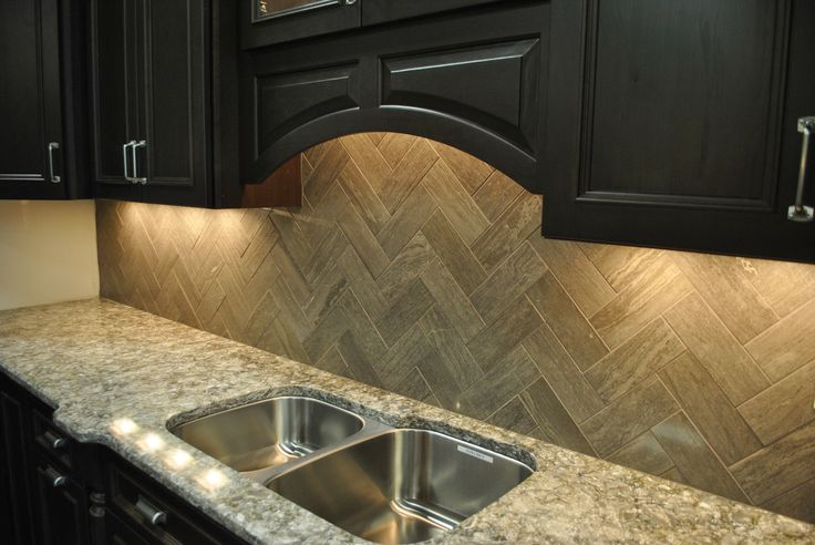 Tile With Style Taupe Marble Herringbone Backsplash