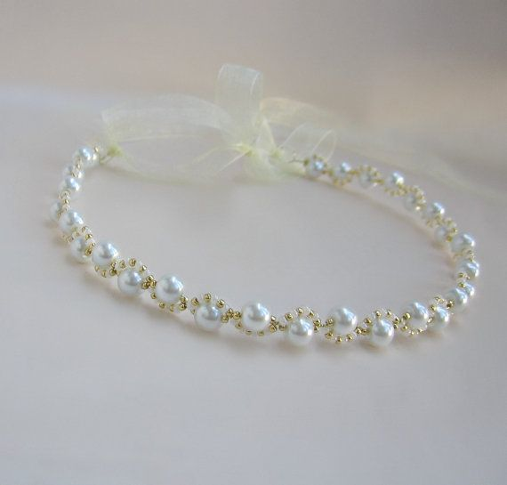 Banda de blanco nupcial Headband.Wedding Hairband.Gold pelo.