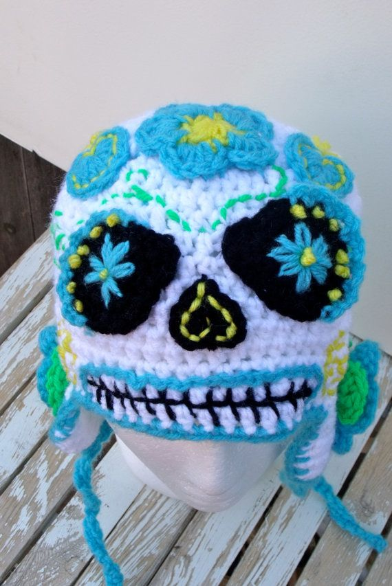 Sugar Skull Beanie Hat Day of the Dead Halloween Dia by beatknits