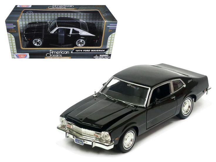 1974 Ford Maverick Black 1/24 Diecast Car Model by Motormax