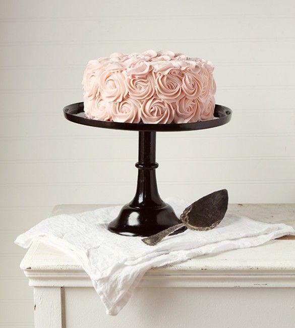 Pink Rose Cake ~ #rosecake #original #rosettecake: Pink Roses, Original Rosettecake, Rosettecake Iambaker, Pink Rose Cake, Cakes, Roses Frosting, Rosecake Original, Frosting Roses, Cake Stand