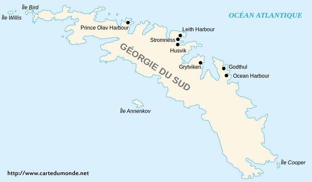 Carte Géorgie du Sud-et-les Îles Sandwich du Sud