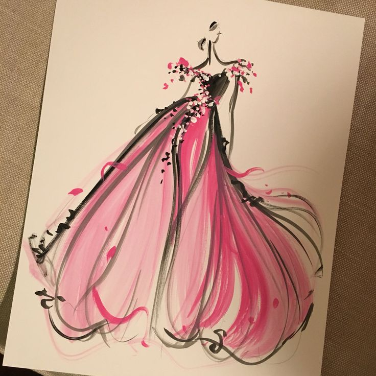 Sketch of the day: pink petal tulle gown. Sketch prints and originals available at ChristianSiriano.com. #cssketch