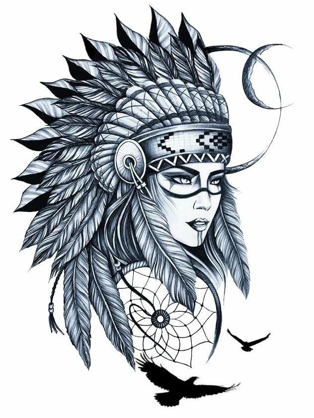 Native Americans Sketch Tattoo Design Indian Girl Tattoos